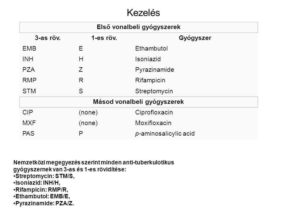 Kezelés Első vonalbeli gyógyszerek 3-as röv.1-es röv.Gyógyszer EMBEEthambutol INHHIsoniazid PZAZPyrazinamide RMPRRifampicin STMSStreptomycin Másod von