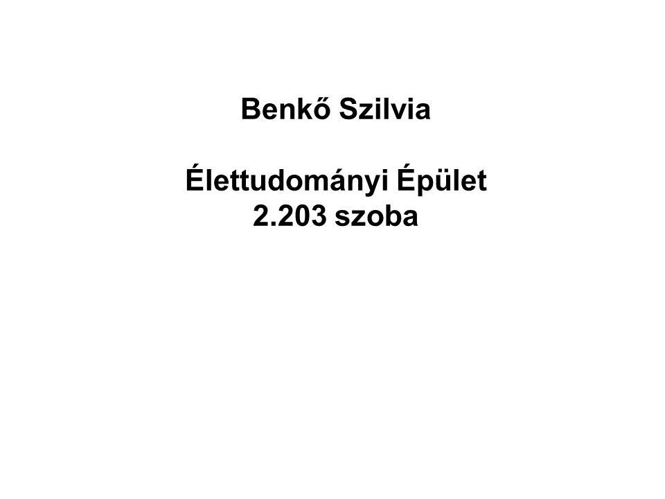 Benkő Szilvia Élettudományi Épület 2.203 szoba