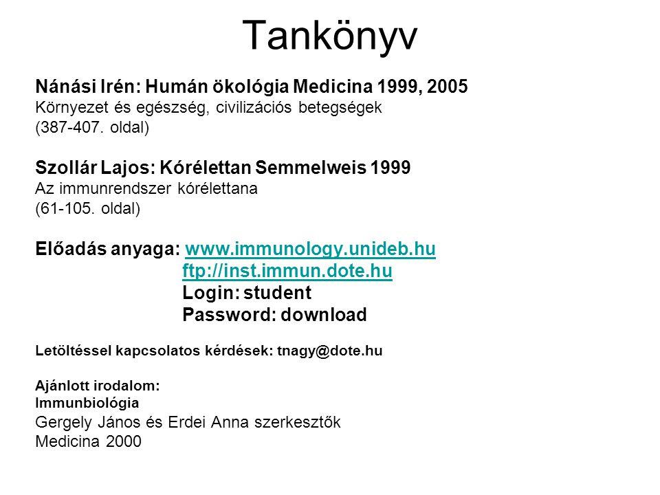 Tankönyv Nánási Irén: Humán ökológia Medicina 1999, 2005 Környezet és egészség, civilizációs betegségek (387-407. oldal) Szollár Lajos: Kórélettan Sem