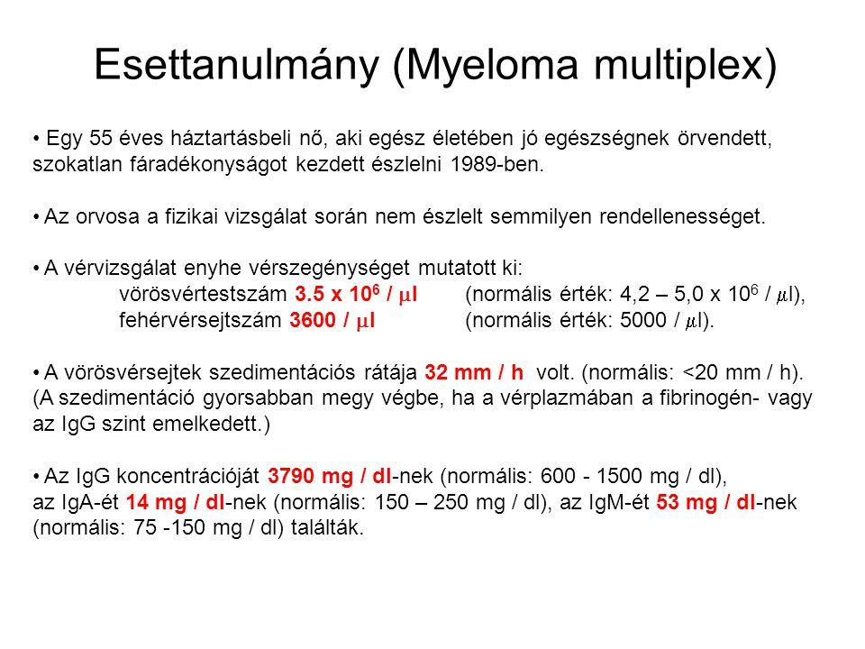 Esettanulmány (Myeloma multiplex) Egy 55 éves háztartásbeli nő, aki egész életében jó egészségnek örvendett, szokatlan fáradékonyságot kezdett észleln