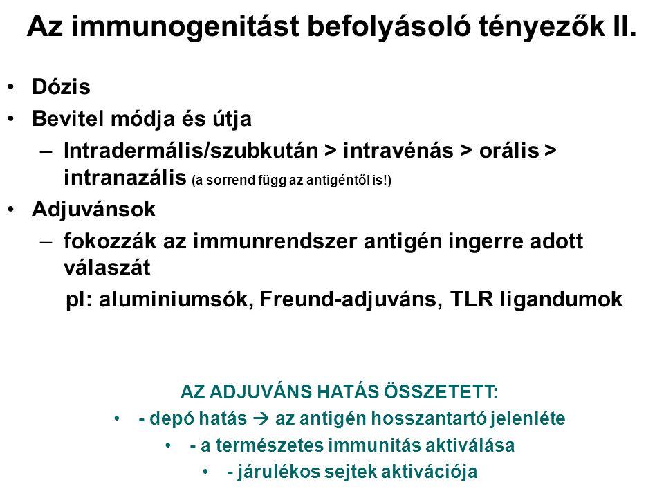 Az immunogenitást befolyásoló tényezők II. Dózis Bevitel módja és útja –Intradermális/szubkután > intravénás > orális > intranazális (a sorrend függ a