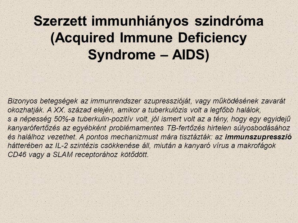 Szerzett immunhiányos szindróma (Acquired Immune Deficiency Syndrome – AIDS) Bizonyos betegségek az immunrendszer szupresszióját, vagy működésének zav