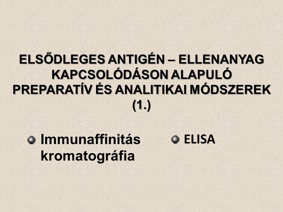 ELSŐDLEGES ANTIGÉN – ELLENANYAG KAPCSOLÓDÁSON ALAPULÓ PREPARATÍV ÉS ANALITIKAI MÓDSZEREK (1.) Immunaffinitás kromatográfia ELISA