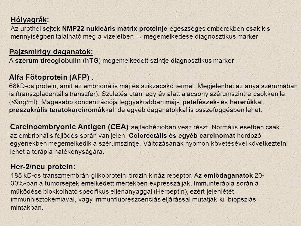 Hólyagrák: Az urothel sejtek NMP22 nukleáris mátrix proteinje egészséges emberekben csak kis mennyiségben található meg a vizeletben → megemelkedése d