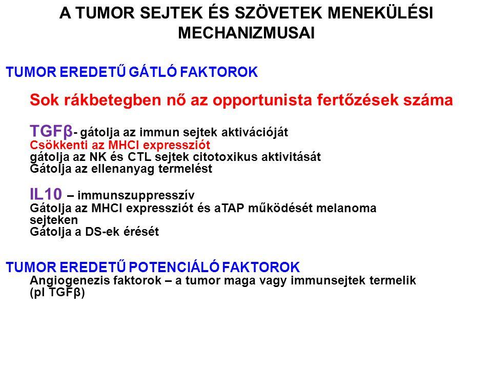 TUMOR EREDETŰ GÁTLÓ FAKTOROK Sok rákbetegben nő az opportunista fertőzések száma TGFβ - gátolja az immun sejtek aktivációját Csökkenti az MHCI expressziót gátolja az NK és CTL sejtek citotoxikus aktivitását Gátolja az ellenanyag termelést IL10 – immunszuppresszív Gátolja az MHCI expressziót és aTAP működését melanoma sejteken Gátolja a DS-ek érését TUMOR EREDETŰ POTENCIÁLÓ FAKTOROK Angiogenezis faktorok – a tumor maga vagy immunsejtek termelik (pl TGFβ) A TUMOR SEJTEK ÉS SZÖVETEK MENEKÜLÉSI MECHANIZMUSAI