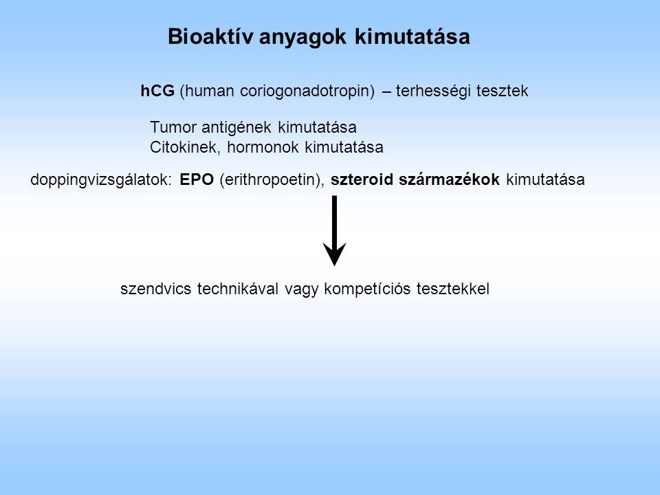 Bioaktív anyagok kimutatása hCG (human coriogonadotropin) – terhességi tesztek doppingvizsgálatok: EPO (erithropoetin), szteroid származékok kimutatása szendvics technikával vagy kompetíciós tesztekkel Tumor antigének kimutatása Citokinek, hormonok kimutatása
