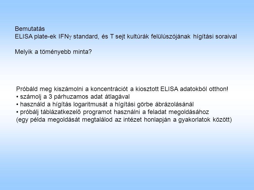 Bemutatás ELISA plate-ek IFN γ standard, és T sejt kultúrák felülúszójának hígítási soraival Melyik a töményebb minta.