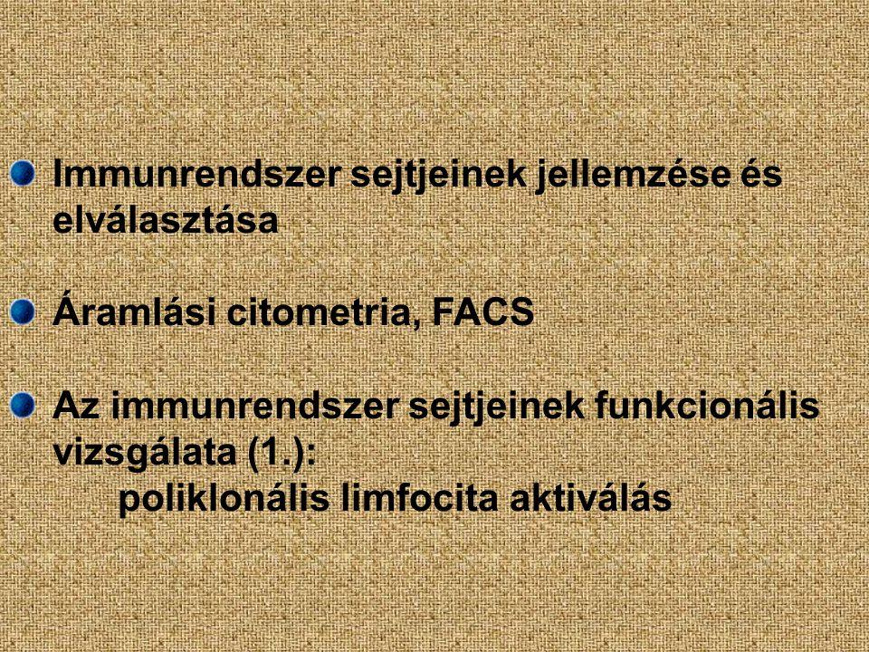 Immunrendszer sejtjeinek jellemzése és elválasztása Áramlási citometria, FACS Az immunrendszer sejtjeinek funkcionális vizsgálata (1.): poliklonális limfocita aktiválás
