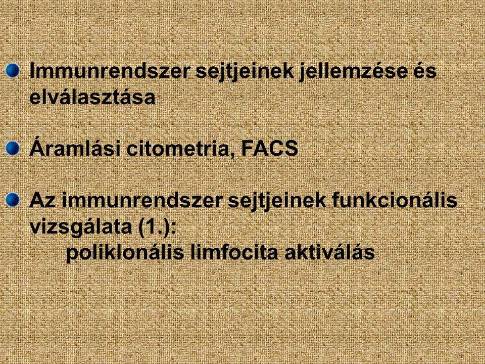 Immunrendszer sejtjeinek jellemzése és elválasztása Áramlási citometria, FACS Az immunrendszer sejtjeinek funkcionális vizsgálata (1.): poliklonális l
