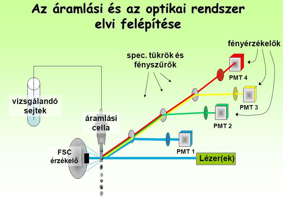 Az áramlási és az optikai rendszer elvi felépítése PMT 1 PMT 2 PMT 4 spec. tükrök és fényszűrők Lézer(ek) PMT 3 vizsgálandó sejtek fényérzékelők áraml