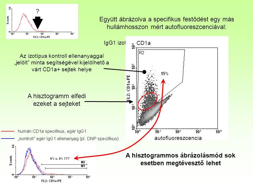 Együtt ábrázolva a specifikus festődést egy más hullámhosszon mért autofluoreszcenciával: autofloureszcencia IgG1 izotípus kontroll ellenagyag CD1a au