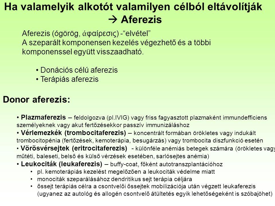 """Ha valamelyik alkotót valamilyen célból eltávolítják  Aferezis Aferezis (ógörög, ἀ φαίρεσις) -""""elvétel"""" A szeparált komponensen kezelés végezhető és"""