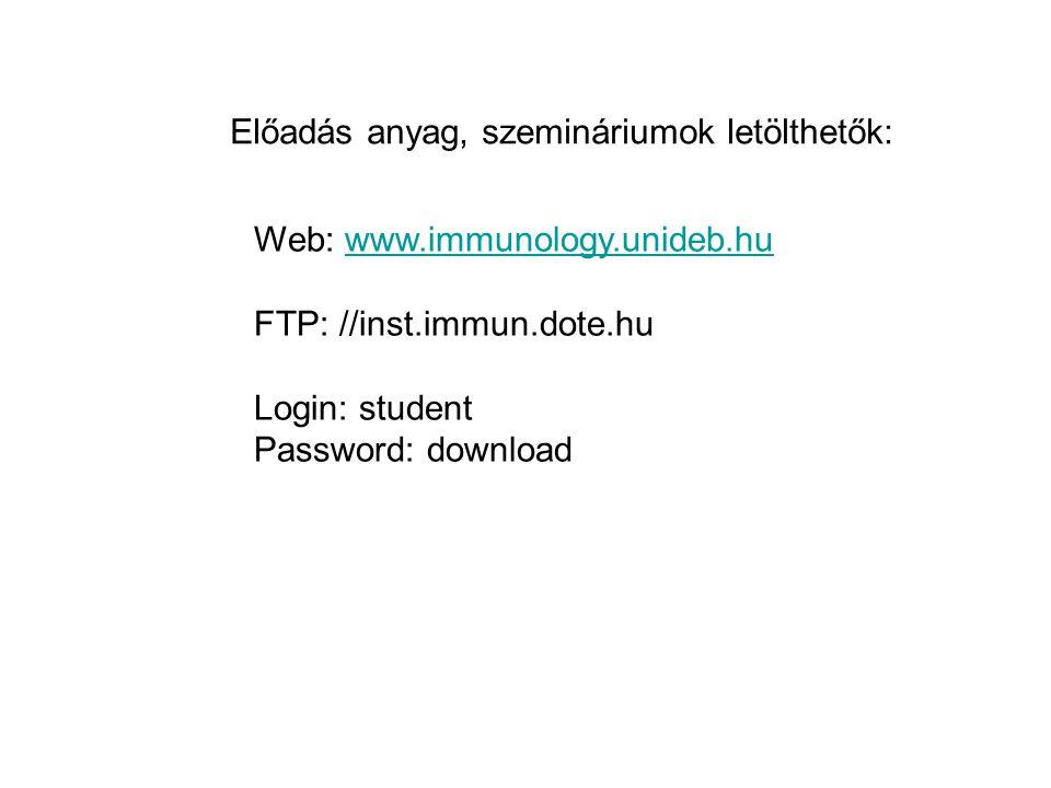 Web: www.immunology.unideb.huwww.immunology.unideb.hu FTP: //inst.immun.dote.hu Login: student Password: download Előadás anyag, szemináriumok letölth