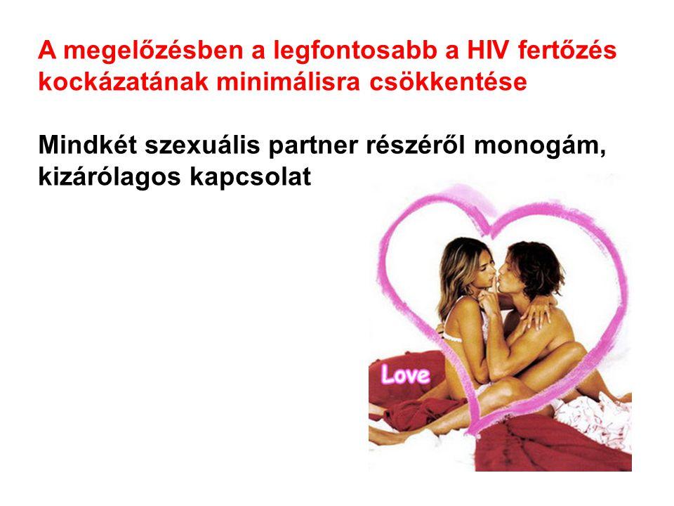 A megelőzésben a legfontosabb a HIV fertőzés kockázatának minimálisra csökkentése Mindkét szexuális partner részéről monogám, kizárólagos kapcsolat