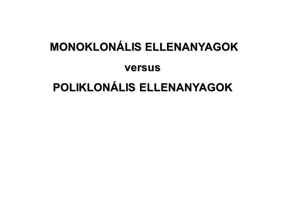 MONOKLONÁLIS ELLENANYAGOK versus POLIKLONÁLIS ELLENANYAGOK