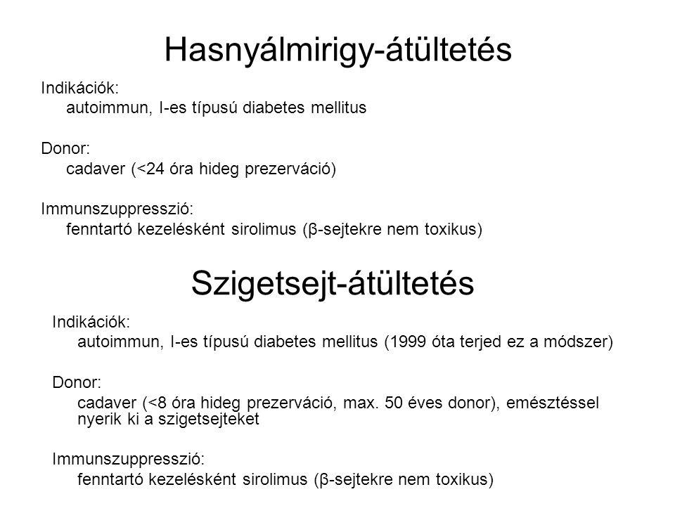 Szigetsejt-átültetés Indikációk: autoimmun, I-es típusú diabetes mellitus Donor: cadaver (<24 óra hideg prezerváció) Immunszuppresszió: fenntartó keze