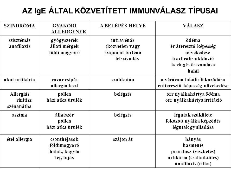 AZ IgE ÁLTAL KÖZVETÍTETT IMMUNVÁLASZ TÍPUSAI SZINDRÓMAGYAKORI ALLERGÉNEK A BELÉPÉS HELYEVÁLASZ szisztémás anafilaxis gyógyszerek állati mérgek földi mogyoró intravénás (közvetlen vagy szájon át történő felszívódás ödéma ér áteresztő képesség növekedése tracheális okkluzió keringés összomlása halál akut urtikáriarovar csípés allergia teszt szubkutána véráram lokális fokozódása éráteresztő képesség növekedése Allergiás rinitisz szénanátha pollen házi atka ürülék belégzésorr nyálkahártya ödéma orr nyálkahártya irritáció asztmaállatszőr pollen házi atka ürülék belégzéslégutak szűkülete fokozott nyálka képződés légutak gyulladása étel allergiacsonthéjasok földimogyoró halak, kagyló tej, tojás szájon áthányás hasmenés pruritusz (viszketés) urtikária (csalánkiütés) anafilaxis (ritka)
