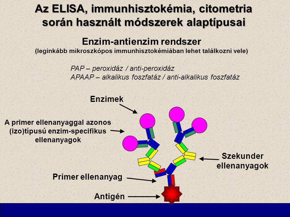 Az ELISA, immunhisztokémia, citometria során használt módszerek alaptípusai Enzim-antienzim rendszer (leginkább mikroszkópos immunhisztokémiában lehet találkozni vele) PAP – peroxidáz / anti-peroxidáz APAAP – alkalikus foszfatáz / anti-alkalikus foszfatáz Antigén Primer ellenanyag Szekunder ellenanyagok A primer ellenanyaggal azonos (izo)típusú enzim-specifikus ellenanyagok Enzimek
