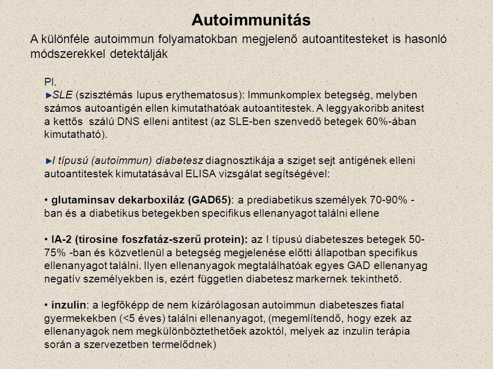 Autoimmunitás A különféle autoimmun folyamatokban megjelenő autoantitesteket is hasonló módszerekkel detektálják Pl. SLE (szisztémás lupus erythematos