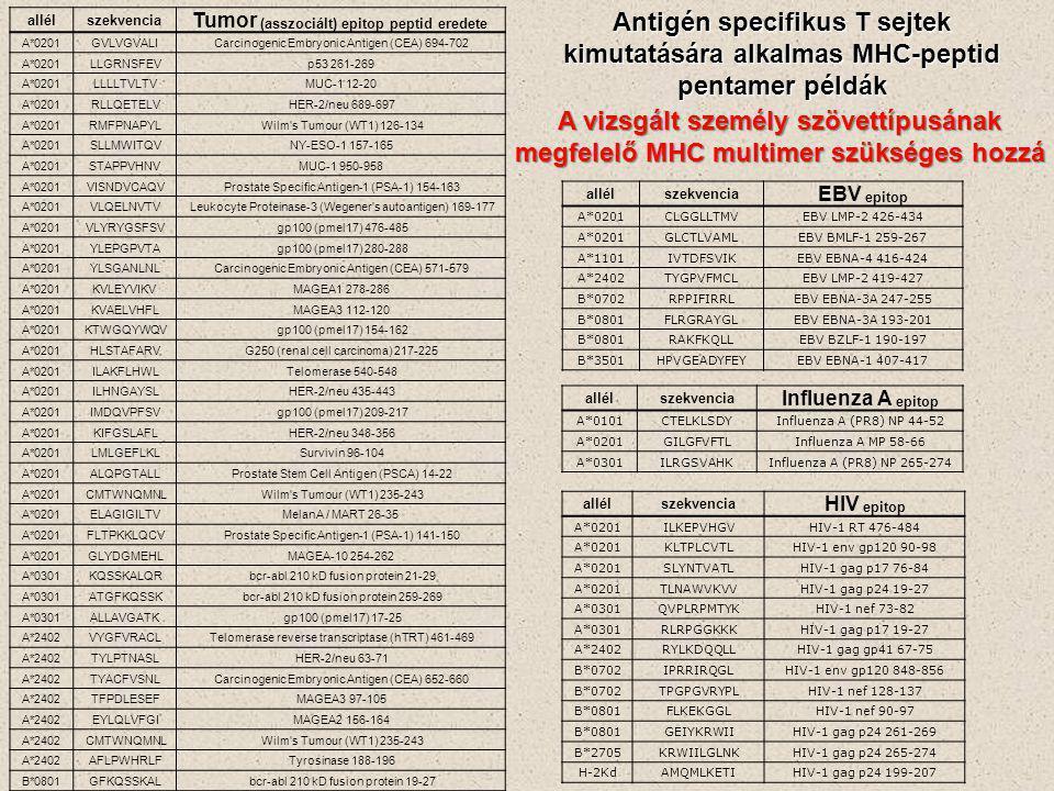 allélszekvencia Tumor (asszociált) epitop peptid eredete A*0201GVLVGVALICarcinogenic Embryonic Antigen (CEA) 694-702 A*0201LLGRNSFEVp53 261-269 A*0201LLLLTVLTVMUC-1 12-20 A*0201RLLQETELVHER-2/neu 689-697 A*0201RMFPNAPYLWilm s Tumour (WT1) 126-134 A*0201SLLMWITQVNY-ESO-1 157-165 A*0201STAPPVHNVMUC-1 950-958 A*0201VISNDVCAQVProstate Specific Antigen-1 (PSA-1) 154-163 A*0201VLQELNVTVLeukocyte Proteinase-3 (Wegener s autoantigen) 169-177 A*0201VLYRYGSFSVgp100 (pmel17) 476-485 A*0201YLEPGPVTAgp100 (pmel17) 280-288 A*0201YLSGANLNLCarcinogenic Embryonic Antigen (CEA) 571-579 A*0201KVLEYVIKVMAGEA1 278-286 A*0201KVAELVHFLMAGEA3 112-120 A*0201KTWGQYWQVgp100 (pmel17) 154-162 A*0201HLSTAFARVG250 (renal cell carcinoma) 217-225 A*0201ILAKFLHWLTelomerase 540-548 A*0201ILHNGAYSLHER-2/neu 435-443 A*0201IMDQVPFSVgp100 (pmel17) 209-217 A*0201KIFGSLAFLHER-2/neu 348-356 A*0201LMLGEFLKLSurvivin 96-104 A*0201ALQPGTALLProstate Stem Cell Antigen (PSCA) 14-22 A*0201CMTWNQMNLWilm s Tumour (WT1) 235-243 A*0201ELAGIGILTVMelanA / MART 26-35 A*0201FLTPKKLQCVProstate Specific Antigen-1 (PSA-1) 141-150 A*0201GLYDGMEHLMAGEA-10 254-262 A*0301KQSSKALQRbcr-abl 210 kD fusion protein 21-29 A*0301ATGFKQSSKbcr-abl 210 kD fusion protein 259-269 A*0301ALLAVGATKgp100 (pmel17) 17-25 A*2402VYGFVRACLTelomerase reverse transcriptase (hTRT) 461-469 A*2402TYLPTNASLHER-2/neu 63-71 A*2402TYACFVSNLCarcinogenic Embryonic Antigen (CEA) 652-660 A*2402TFPDLESEFMAGEA3 97-105 A*2402EYLQLVFGIMAGEA2 156-164 A*2402CMTWNQMNLWilm s Tumour (WT1) 235-243 A*2402AFLPWHRLFTyrosinase 188-196 B*0801GFKQSSKALbcr-abl 210 kD fusion protein 19-27 allélszekvencia EBV epitop A*0201CLGGLLTMVEBV LMP-2 426-434 A*0201GLCTLVAMLEBV BMLF-1 259-267 A*1101IVTDFSVIKEBV EBNA-4 416-424 A*2402TYGPVFMCLEBV LMP-2 419-427 B*0702RPPIFIRRLEBV EBNA-3A 247-255 B*0801FLRGRAYGLEBV EBNA-3A 193-201 B*0801RAKFKQLLEBV BZLF-1 190-197 B*3501HPVGEADYFEYEBV EBNA-1 407-417 allélszekvencia Influenza A epitop A*0101CTELKLSDYInfluenza A (PR8) NP 44-52 A*0201GILGFVFTLInfluenz