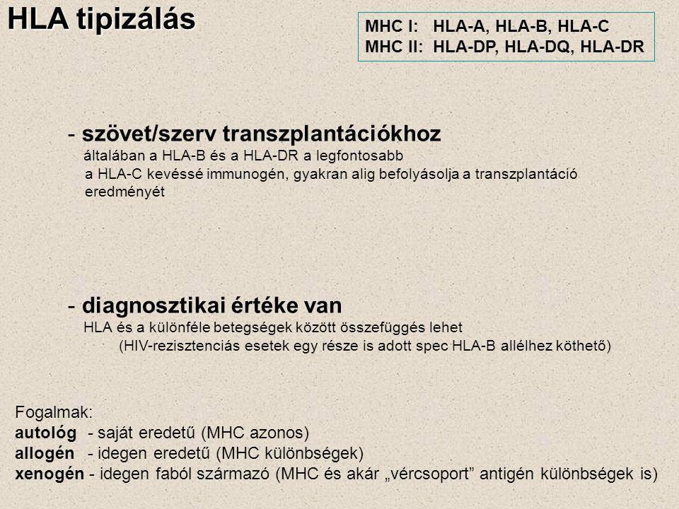 HLA tipizálás - szövet/szerv transzplantációkhoz általában a HLA-B és a HLA-DR a legfontosabb a HLA-C kevéssé immunogén, gyakran alig befolyásolja a t