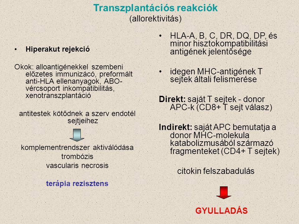 Hiperakut rejekció Okok: alloantigénekkel szembeni előzetes immunizácó, preformált anti-HLA ellenanyagok, ABO- vércsoport inkompatibilitás, xenotranszplantáció antitestek kötődnek a szerv endotél sejtjeihez komplementrendszer aktiválódása trombózis vascularis necrosis terápia rezisztens Transzplantációs reakciók (allorektivitás) HLA-A, B, C, DR, DQ, DP, és minor hisztokompatibilitási antigének jelentősége idegen MHC-antigének T sejtek általi felismerése Direkt: saját T sejtek - donor APC-k (CD8+ T sejt válasz) Indirekt: saját APC bemutatja a donor MHC-molekula katabolizmusából származó fragmenteket (CD4+ T sejtek) citokin felszabadulás GYULLADÁS