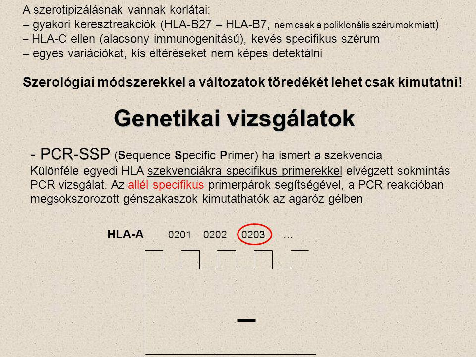 A szerotipizálásnak vannak korlátai: – gyakori keresztreakciók (HLA-B27 – HLA-B7, nem csak a poliklonális szérumok miatt ) – HLA-C ellen (alacsony immunogenitású), kevés specifikus szérum – egyes variációkat, kis eltéréseket nem képes detektálni Szerológiai módszerekkel a változatok töredékét lehet csak kimutatni.