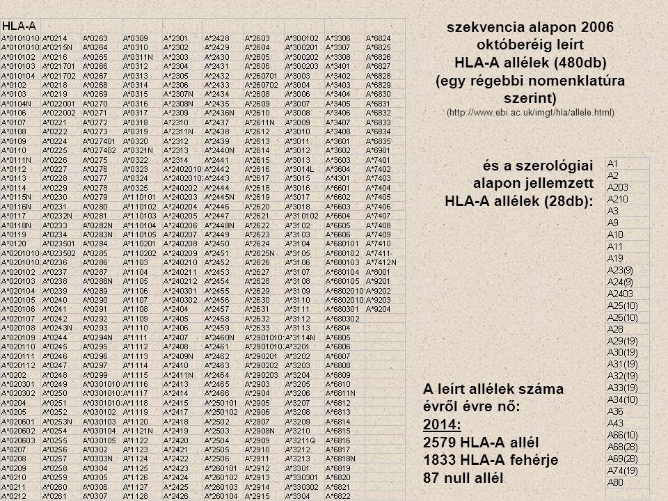 szekvencia alapon 2006 októberéig leírt HLA-A allélek (480db) (egy régebbi nomenklatúra szerint) (http://www.ebi.ac.uk/imgt/hla/allele.html) és a szerológiai alapon jellemzett HLA-A allélek (28db): A leírt allélek száma évről évre nő: 2014: 2579 HLA-A allél 1833 HLA-A fehérje 87 null allél