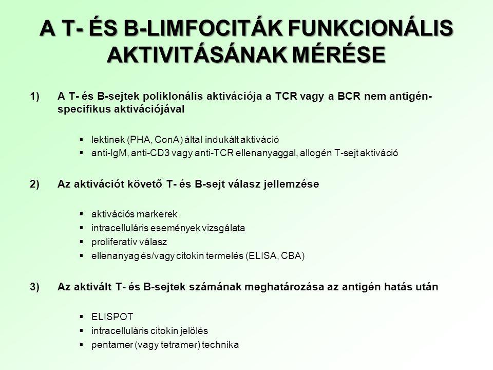 A T- ÉS B-LIMFOCITÁK FUNKCIONÁLIS AKTIVITÁSÁNAK MÉRÉSE 1)A T- és B-sejtek poliklonális aktivációja a TCR vagy a BCR nem antigén- specifikus aktivációj