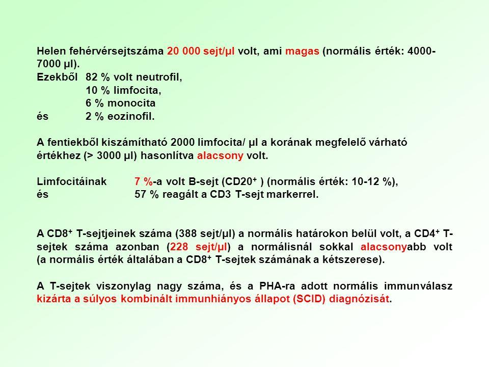 Helen fehérvérsejtszáma 20 000 sejt/μl volt, ami magas (normális érték: 4000- 7000 μl). Ezekből 82 % volt neutrofil, 10 % limfocita, 6 % monocita és 2