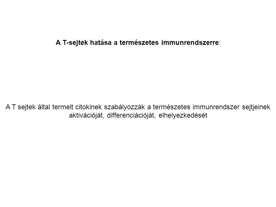 A T-sejtek hatása a természetes immunrendszerre: A T sejtek által termelt citokinek szabályozzák a természetes immunrendszer sejtjeinek aktivációját, differenciációját, elhelyezkedését