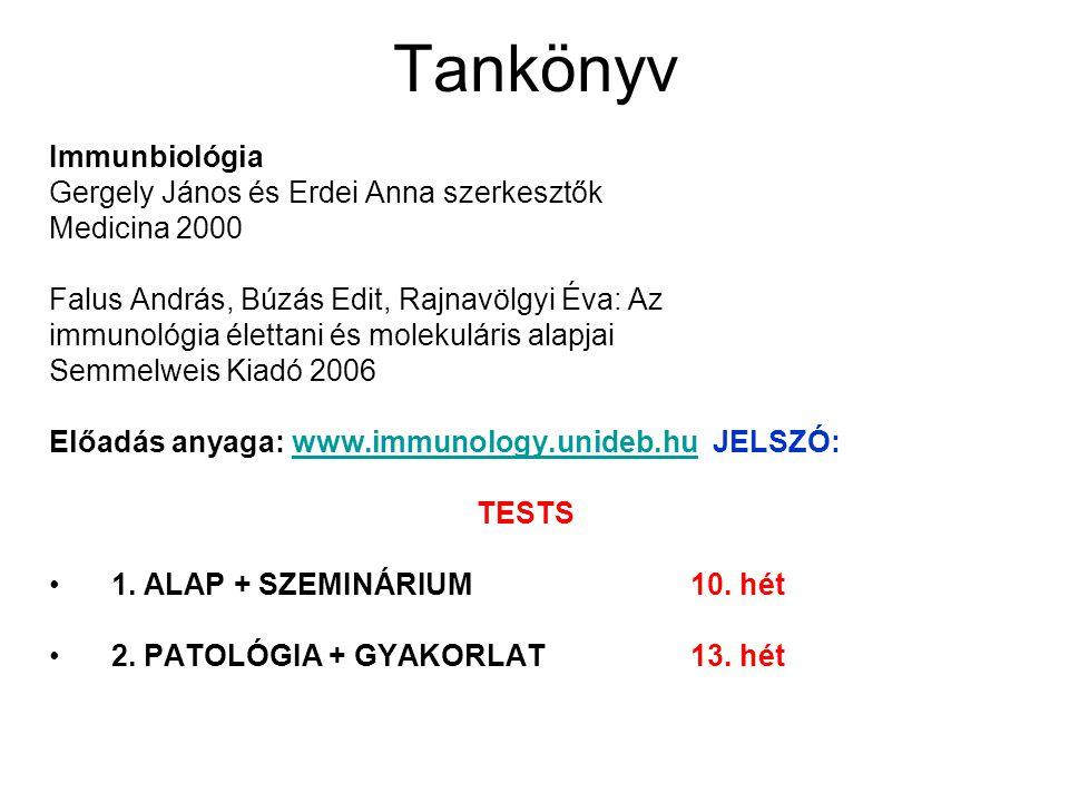 Tankönyv Immunbiológia Gergely János és Erdei Anna szerkesztők Medicina 2000 Falus András, Búzás Edit, Rajnavölgyi Éva: Az immunológia élettani és mol