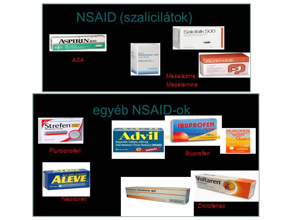 Flurbiprofen Ibuprofen Naproxen Diclofenac egyéb NSAID-ok Mesalazine / Mesalamine ASA NSAID (szalicilátok)