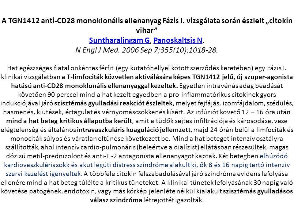 """A TGN1412 anti-CD28 monoklonális ellenanyag Fázis I. vizsgálata során észlelt """"citokin vihar"""" Suntharalingam GSuntharalingam G, Panoskaltsis N.Panoska"""