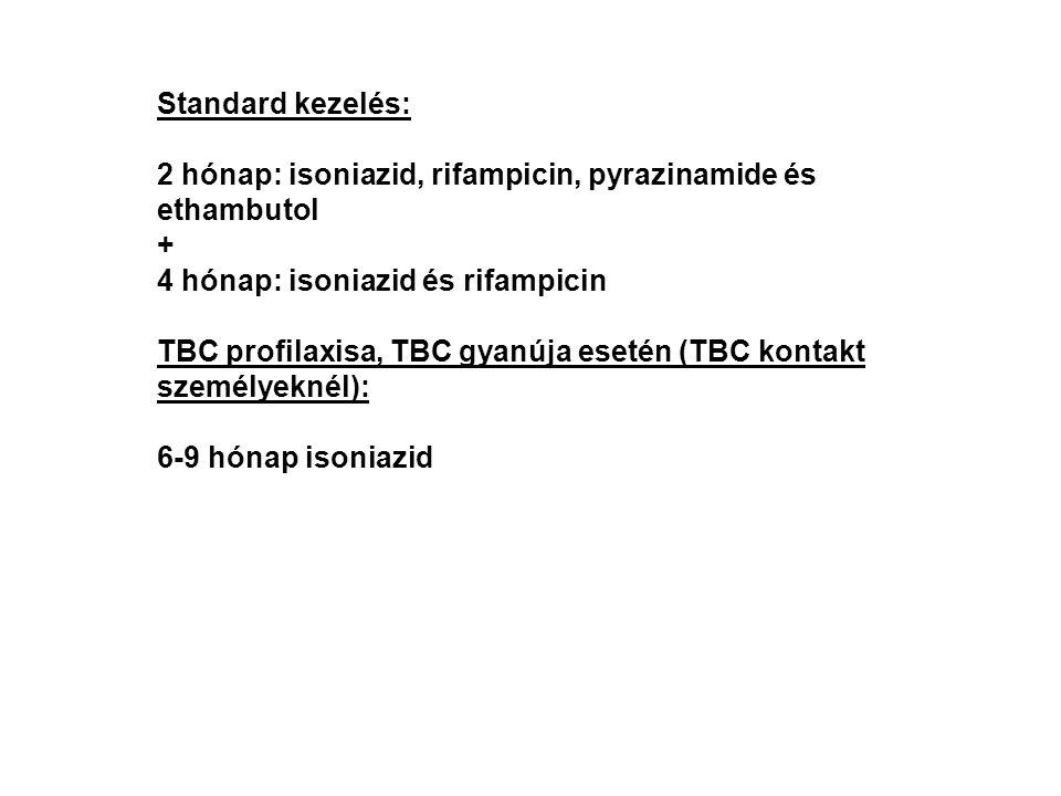Standard kezelés: 2 hónap: isoniazid, rifampicin, pyrazinamide és ethambutol + 4 hónap: isoniazid és rifampicin TBC profilaxisa, TBC gyanúja esetén (T