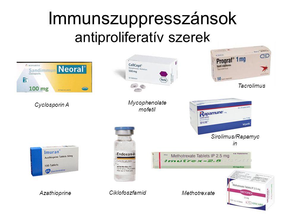 Immunszuppresszánsok antiproliferatív szerek Cyclosporin A Tacrolimus Azathioprine Ciklofoszfamid Methotrexate Mycophenolate mofetil Sirolimus/Rapamyc in