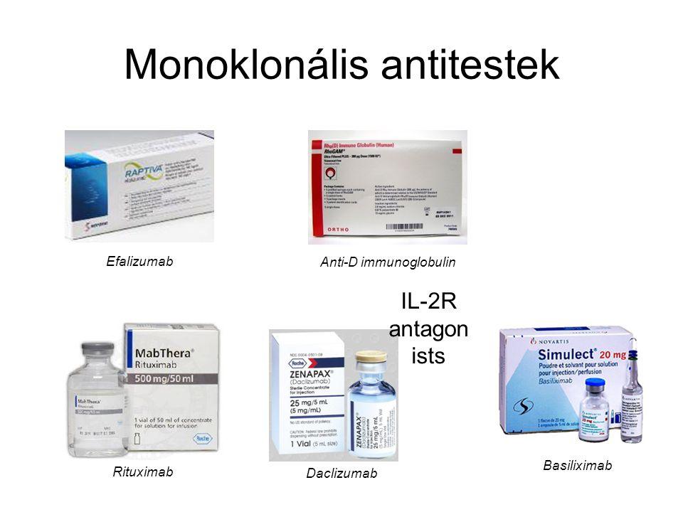 Monoklonális antitestek Efalizumab Anti-D immunoglobulin Basiliximab Daclizumab IL-2R antagon ists Rituximab