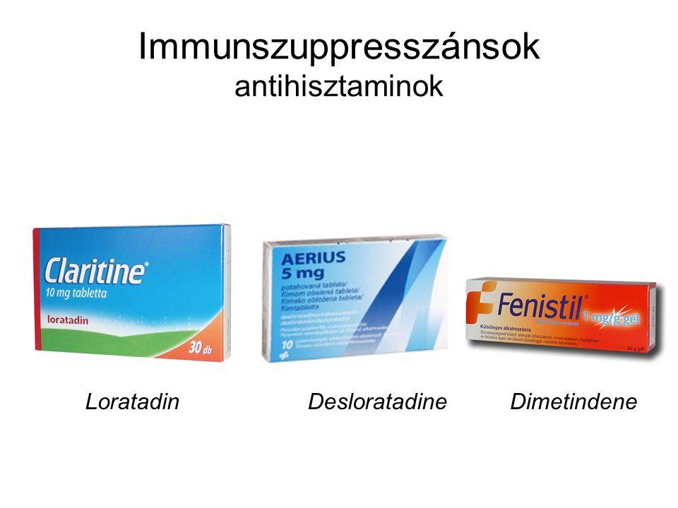 Immunszuppresszánsok antihisztaminok LoratadinDesloratadineDimetindene