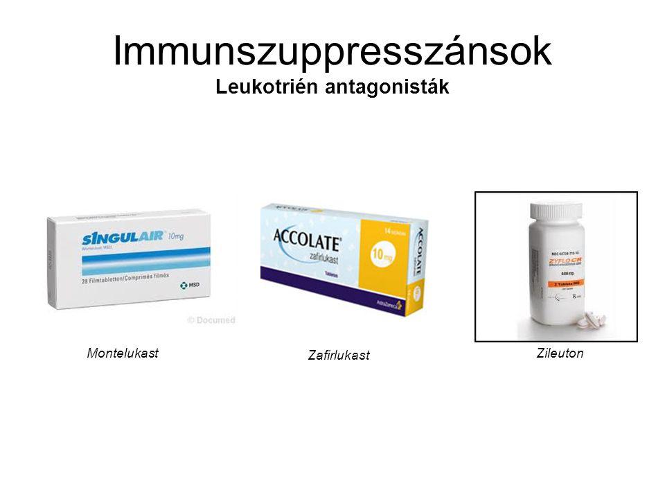 Immunszuppresszánsok Leukotrién antagonisták Montelukast Zafirlukast Zileuton