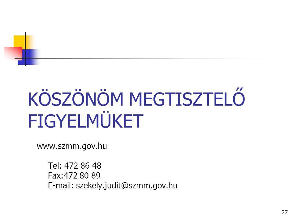 27 KÖSZÖNÖM MEGTISZTELŐ FIGYELMÜKET www.szmm.gov.hu Tel: 472 86 48 Fax:472 80 89 E-mail: szekely.judit@szmm.gov.hu