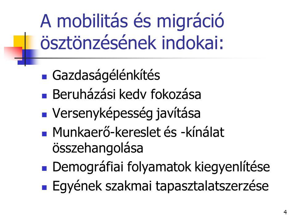 4 A mobilitás és migráció ösztönzésének indokai: Gazdaságélénkítés Beruházási kedv fokozása Versenyképesség javítása Munkaerő-kereslet és -kínálat öss