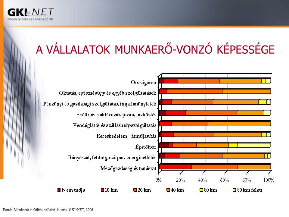 A VÁLLALATOK MUNKAERŐ-VONZÓ KÉPESSÉGE Forrás: Munkaerő mobilitás vállalati kutatás, GKIeNET, 2006.