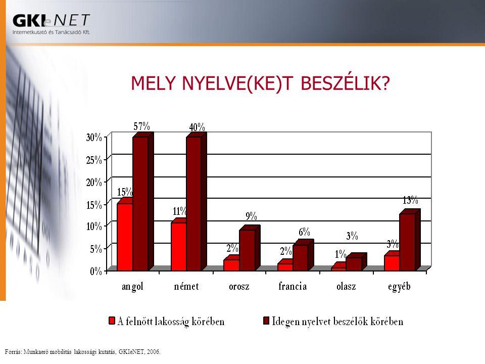 MELY NYELVE(KE)T BESZÉLIK? Forrás: Munkaerő mobilitás lakossági kutatás, GKIeNET, 2006.