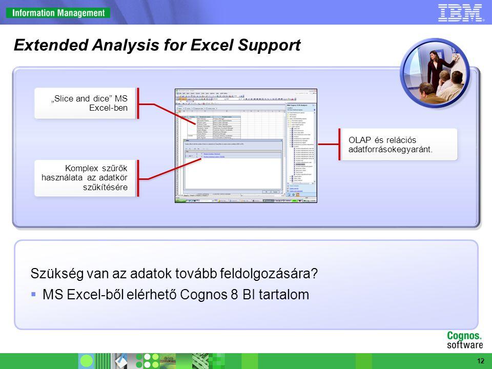 """Szükség van az adatok tovább feldolgozására?  MS Excel-ből elérhető Cognos 8 BI tartalom OLAP és relációs adatforrásokegyaránt. """"Slice and dice"""" MS E"""