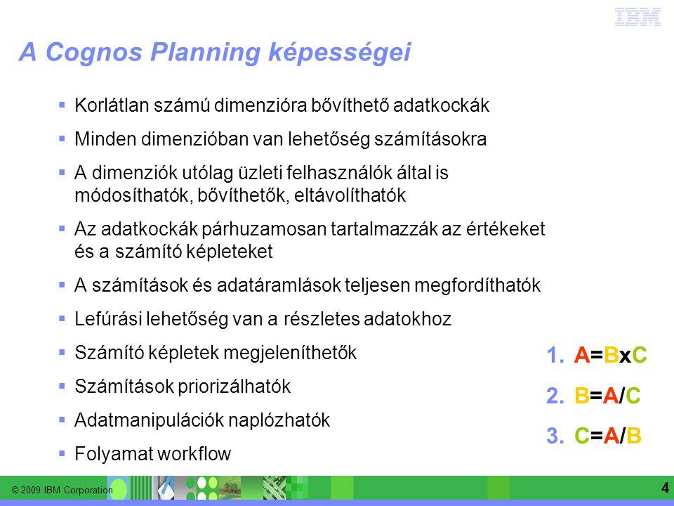 © 2009 IBM Corporation Information Management software | Enterprise Content Management 4 A Cognos Planning képességei  Korlátlan számú dimenzióra bőv