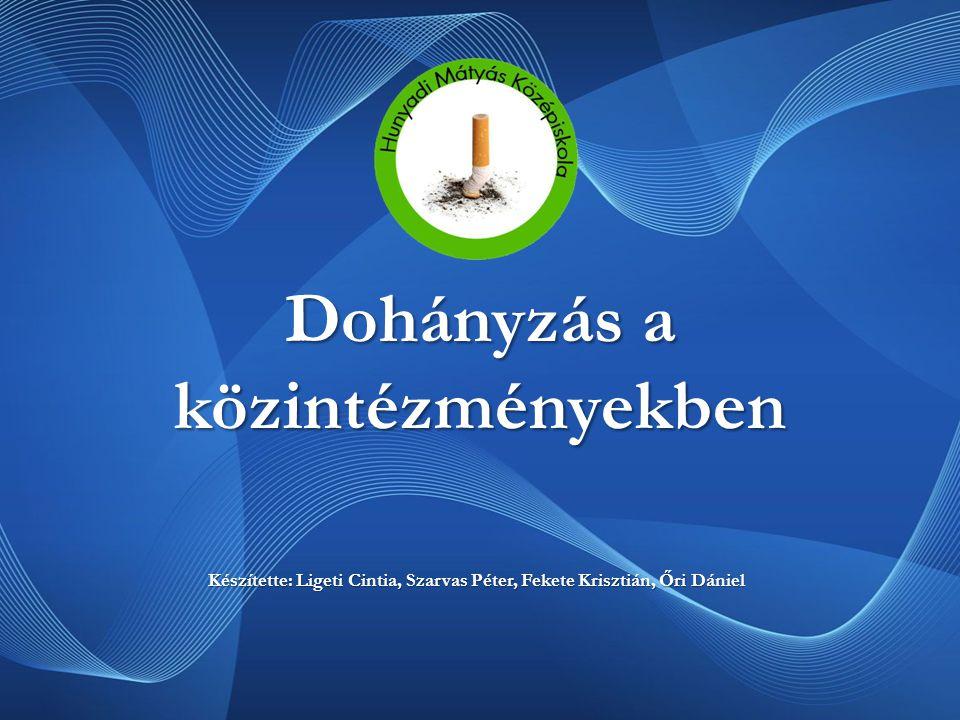 Dohányzás a közintézményekben Készítette: Ligeti Cintia, Szarvas Péter, Fekete Krisztián, Őri Dániel