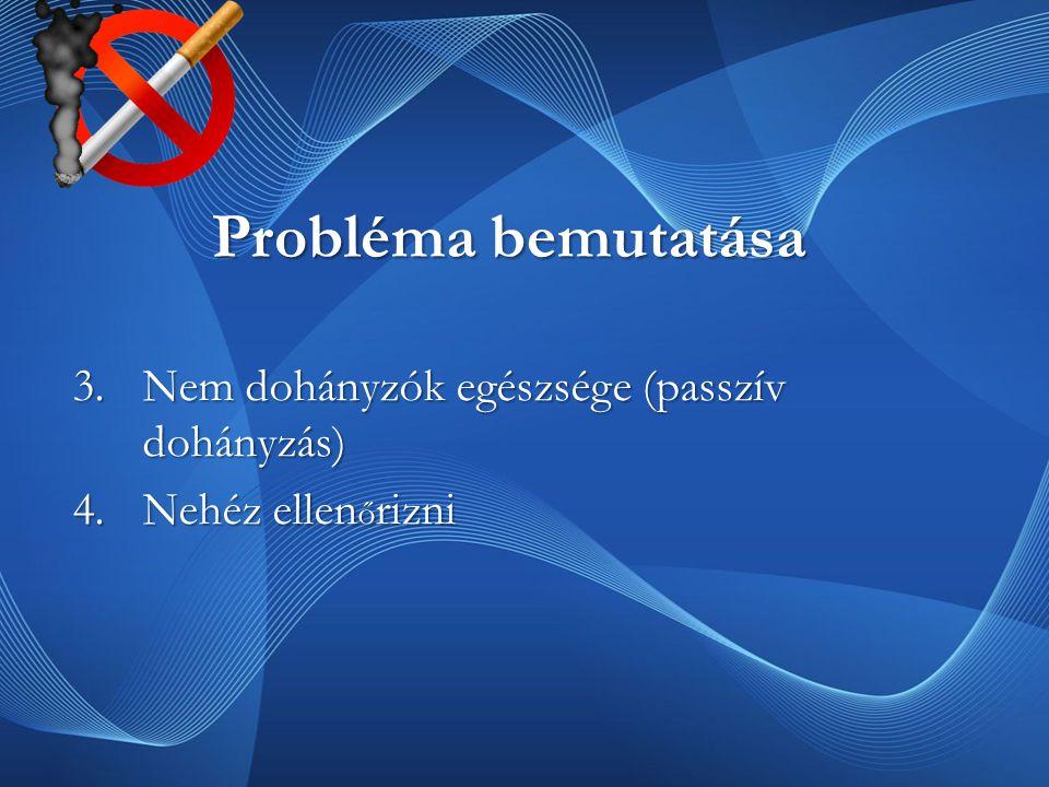Probléma bemutatása 3.Nem dohányzók egészsége (passzív dohányzás) 4.Nehéz ellen ő rizni