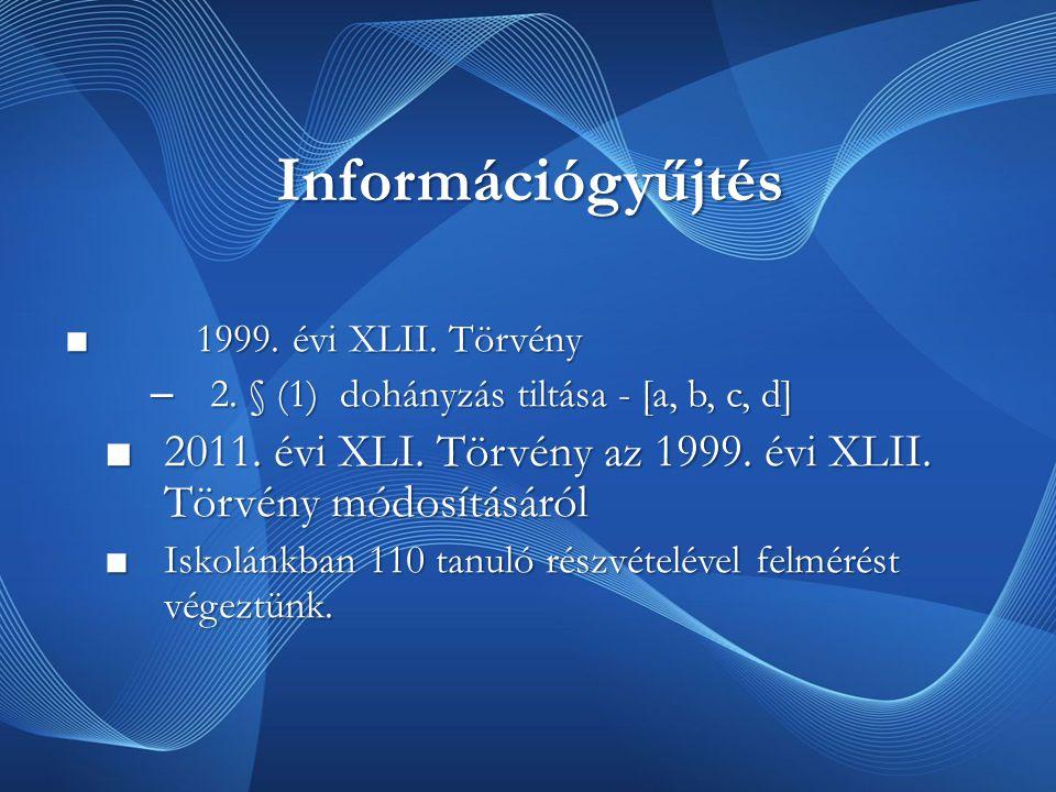 Információgyűjtés ■ 1999.évi XLII. Törvény – 2. § (1) dohányzás tiltása - [a, b, c, d] ■2011.