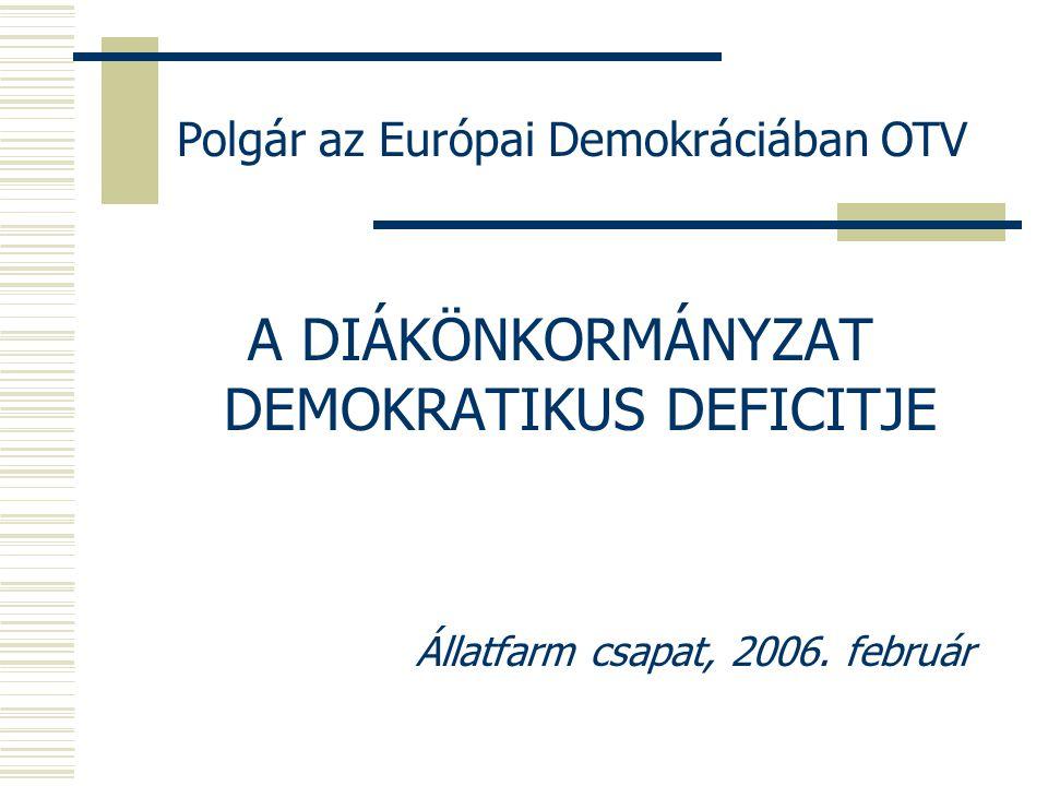 Polgár az Európai Demokráciában OTV A DIÁKÖNKORMÁNYZAT DEMOKRATIKUS DEFICITJE Állatfarm csapat, 2006.