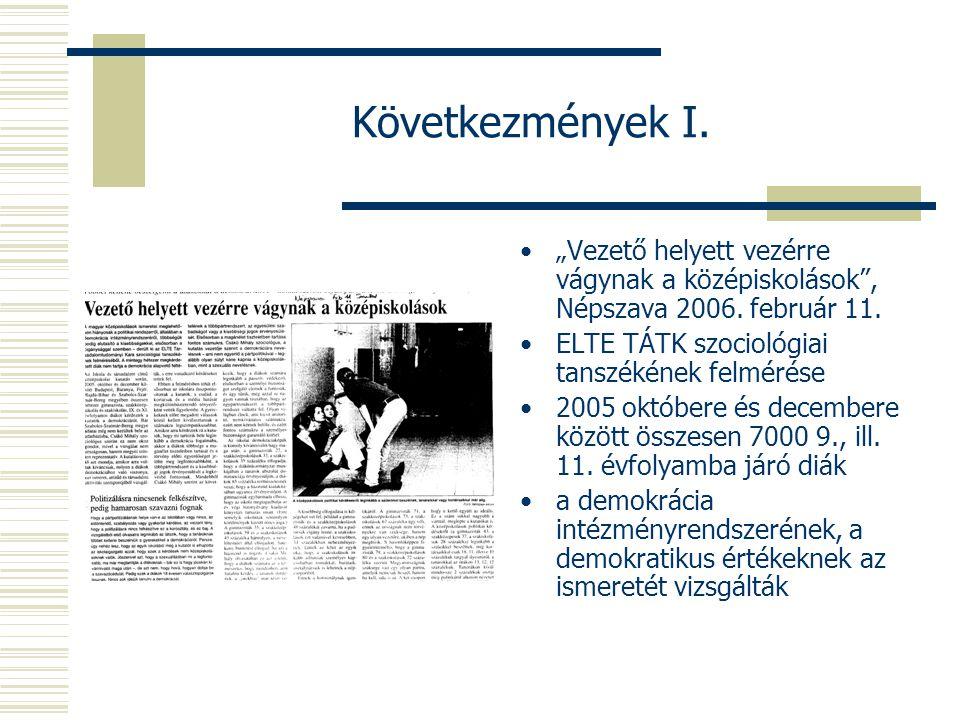 """Következmények I. """"Vezető helyett vezérre vágynak a középiskolások , Népszava 2006."""